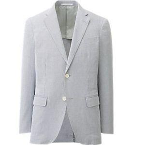 NWT Uniqlo Cordlane Jacket Blue & White Pinstripe